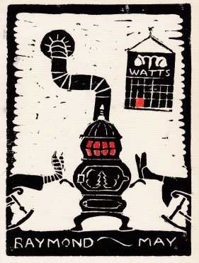 "black and white woodcut print of drawing of a potbelly stove. Two pairs of feet, clad in stockings and slippers, are propped up on the stove. The stove door is decorated with a Christmas tree, Calendar labled ""Watts"" hangs on the wall."